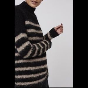 TOPSHOP Boutique Striped Fluffy Knit Sweater Mock